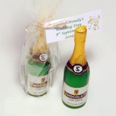 Milk Chocolate Champagne Bottle with Personalised Label (13cm high)