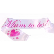 Mum To Be Satin Sash White/Pink